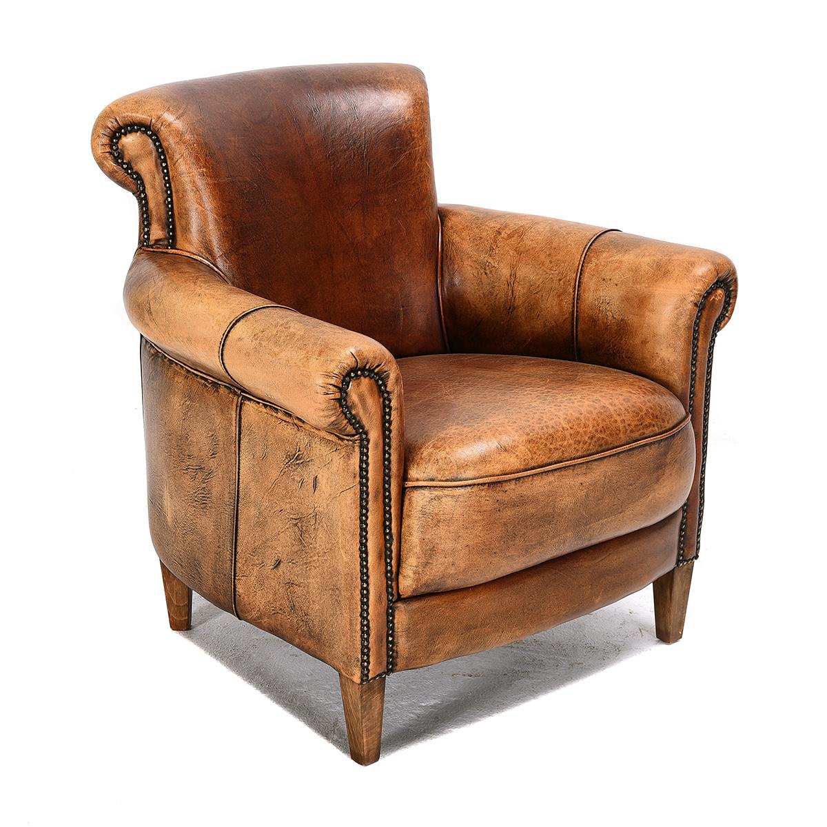 Leather Studded Armchair.