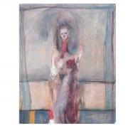 Nathan Oliveira Untitled Figure mixed media .