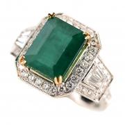Emerald, Diamond, 18k Gold Ring.