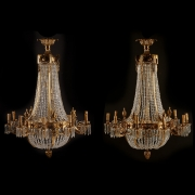 Pair of French Neoclassical Style Dore Bronze and Cut Crystal Ten Light Basket Shaped Chandeliers