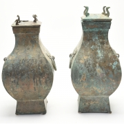 Pair of Chinese Bronze Ritural Wine Vessels, FangHu