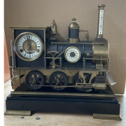 Bronze, Brass and Copper Locomotive Clock Barometer,  Thermometer.
