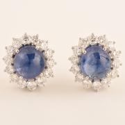 Pair of Impressive Sapphire, Diamond, 18k White Gold Ear Clips.