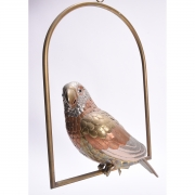 Mixed Metal Hanging Parrot Sculpture, Signed Carlos Del Conde.