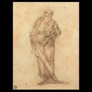 Style of Luca Cambiaso Study for Saint or Apostle pen and ink on pape