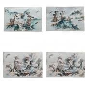 Four Famille Rose Porcelain Plaques.