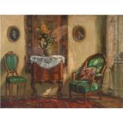 Stanislav Yulianovich Zhukovski Interior Scene oil on canvas