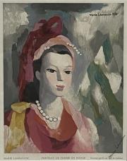 After Marie Laurencin Portrait de Femme en Rouge color wood engraving