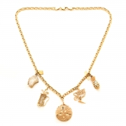 18-Inch Hamilton Gold Plated Necklace with 4mm Faux-Pearl Beads and Gold Filled Saint Lillian Charm.
